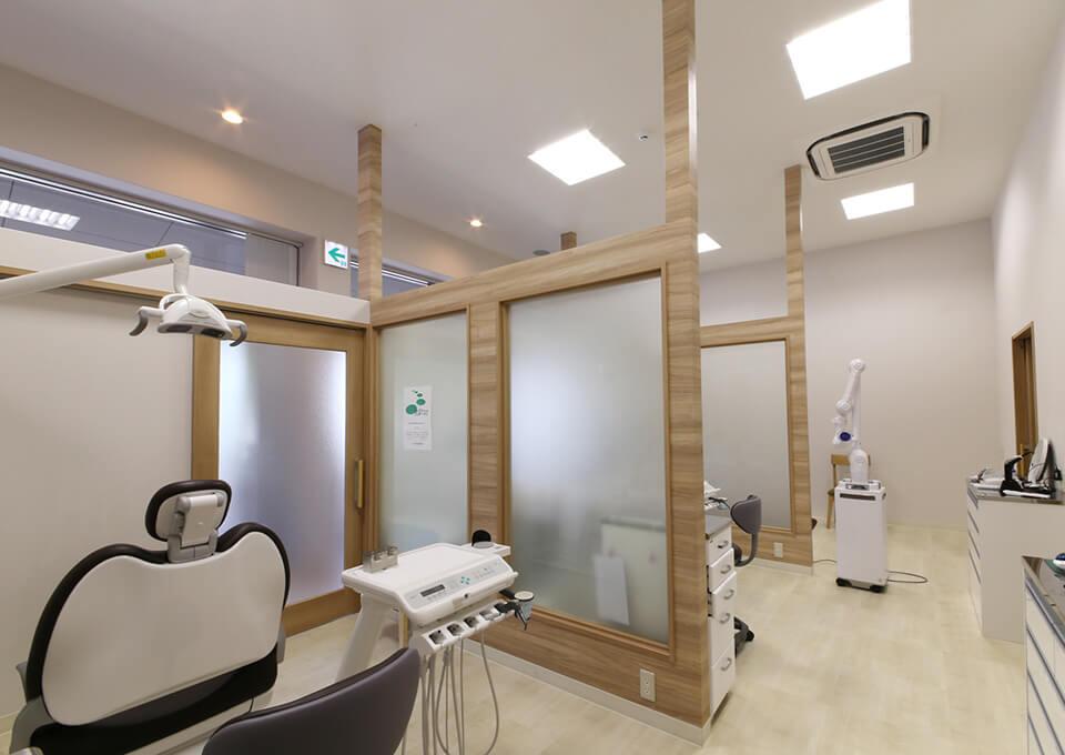 予防・治療室も個室